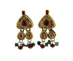 18k Gold Rose Cut Diamond Tourmaline Ruby Emerald Enamel Earrings Featured in our upcoming auction on December 15!