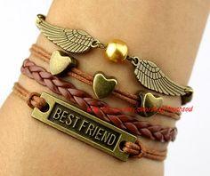 Pearl golden wings best friend bracelet bronzing by itouchsoul, $5.99