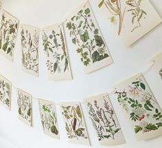 A lovely botanical bunting with leaves and flowers in shades of green. Perfect to bring the outside into any room in your home! It is also
