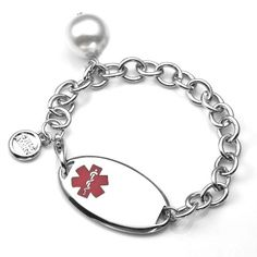 Medical ID Stainless Steel Chain Bracelet with Pearl