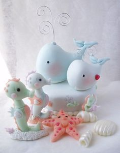Whale and baby Whale cake topper or by CreacionesDeElena on Etsy