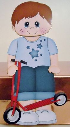3D On the Shelf Card Kit - Cute Little Boy Rae has a Toy Scooter - Photo by Pam Stubley