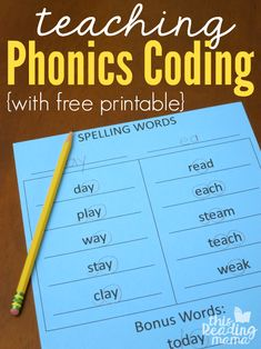 Teaching Phonics Coding to Learners - This Reading Mama Phonics Words, Phonics Worksheets, Spelling Words, Phonics Activities, Alphabet Phonics, Free Worksheets, Literacy Activities, Teaching Phonics, Teaching Reading