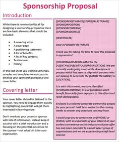 Sponsorship Proposal Cover Letter  Lsk    Proposal