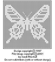 Printing Page For Ceylon Rose Butterfly Free Chart For Filet or Cross-stitch