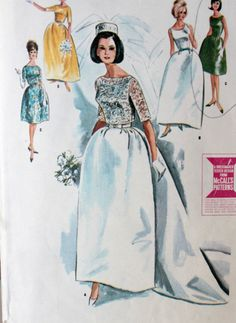 1960s wedding gowns | Vintage 1960s Wedding Dress Pattern by Digvintageshop on Etsy