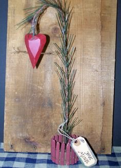 Valentine Sprig Tree with Heart Home Decor Primitive Look  New!