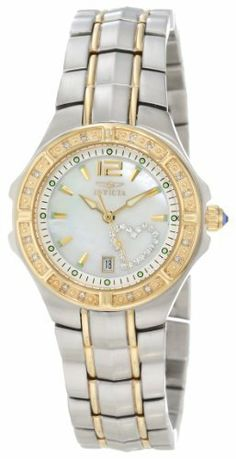 Invicta Women's 6391 Wildflower Collection Diamond Accented Two-Tone Watch Invicta. $119.99. Durable flame-fusion crystal; Two-tone stainless steel case and bracelet. Precise Swiss-Quartz movement. Date function. White Mother-Of-Pearl dial with gold-tone hands, hour markers and arabic numeral 12; Luminous; 16 white diamonds set on 18k yellow gold Ion-Plated bezel; White crystal outlined heart set on dial; Blue cabochon crown. Water-resistant to 330 feet (100 M)
