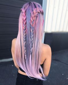 Trendy Hair Color Crazy Pastel Braids 23 Ideas - Most stylish hairstyles Cute Hair Colors, Hair Dye Colors, Cool Hair Color, Amazing Hair Color, Gorgeous Hair, Loose Hairstyles, Summer Hairstyles, Pretty Hairstyles, Braid Hairstyles