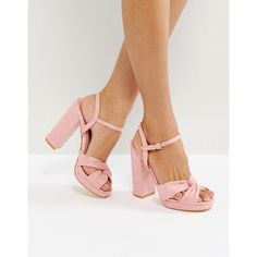 Truffle Collection Soft Knot Front Platform Sandal ($42) ❤ liked on Polyvore featuring shoes, sandals, pink, pink high heel shoes, pink sandals, ankle tie sandals, platform shoes and ankle wrap sandals