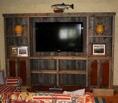 rustic+entertainment+center+ideas | Custom Made Reclaimed Lumber Entertainment Center by Tom's Custom ...