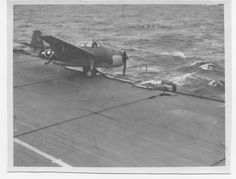 Canadian Avenger after a landing mishap on the HMCS Huron