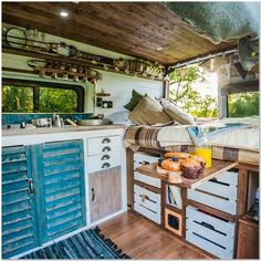 Camper Van Interiors That Could Replace A Tiny Home - House Topics Van Conversion Interior, Van Interior, Bus Conversion, Camper Life, Camper Van, Bus Life, Van Home, Master Suite, Van Living