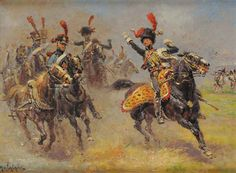 French; Imperial Guard; Horse Artillery, bringing the battery into Position by Alphonse Lalauze