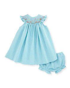 K0D5S Luli & Me Sleeveless Gingham Seersucker Bishop Dress w/ Bloomers, Turquoise, Size 3-24 Months