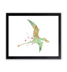 Pterosaur  Dinosaur Watercolor Wall Art Print  by TheWildlands