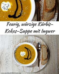 Vegane Kürbissuppe mit Inger und Kokosmilch - super lecker und kräftig würzig!