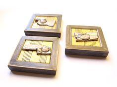Modern Ceramic set of 3 Ceramic tile wall art Ceramic by 99heads