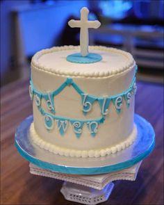 Boys baptism cake: