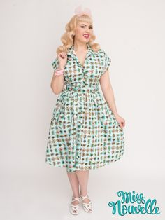 Miss Nouvelle - Emily Ann Dress, Atomic - vintage inspired, blue, pink, retro, pinup, 1950s, rockabilly