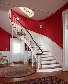 30 ideas para decorar escaleras: Paredes, descansillos, barandillas y escalones Stair Risers, Verandas, Stairway, Modern Houses, Trendy Tree, Furniture