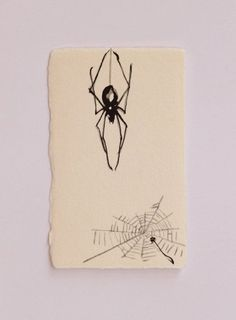 Spider with Halloween Size: Japanese name card size about in x in (End of the washi paper has not been cut) Mini Art ☆ it is so Spider Web Drawing, Spider Art, Spider Dance, Spider Webs, Tattoo Drawings, Body Art Tattoos, Art Drawings, Halloween Spider, Halloween Art