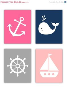 SALE 30% OFF Ten Day SALE Girl Nautical Nursery Wall Art, 4- 8x10 prints, or toddler room