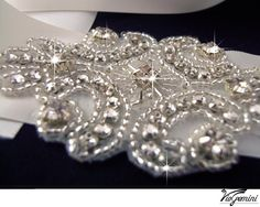 Rhinestone applique, crystal applique, wedding applique,  beaded patch for DIY wedding accessories. Nr 1