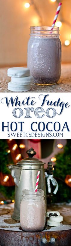 The best holiday hot cocoa- White Fudge Oreo Hot Cocoa! by consuelo Christmas Drinks, Noel Christmas, Christmas Treats, Holiday Treats, Holiday Recipes, Holiday Drinks, Party Drinks, Christmas Cookies, Cocktails