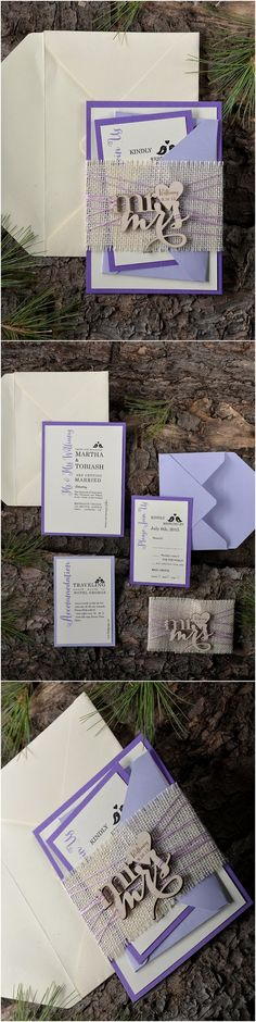 Rustic country wedding ideas - purple burlap mr&ms wedding invitations @4LOVEPolkaDots
