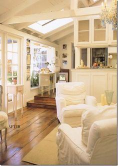"Rachel Ashwell's lovely cottage home. She has moved on to another, but you can view this house/home in Rachel's book called ""SHABBY CHIC HOME"" Cottage Living, Cottage Homes, Home And Living, Coastal Cottage, Shabby Chic, White Rooms, White Walls, Home And Deco, Great Rooms"