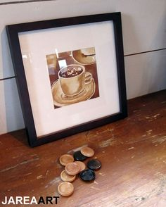 Coffee Cup Painted with Coffee on Watercolor Paper by jareaart, $50.00