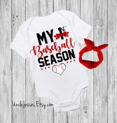 My First Baseball Season - Baseball Lover Baby One Piece - Little Slugger - You Know I'm All About That Base - Take Me Out To The Ball Game Cute Funny Baby Onesie By UncleJesses Clothing  Unisex Kids' Clothing  Bodysuits  crawl walk baseball  play ball  1st baseball season  ball game  go angels new york yankees  young yankee fan  red sox baby  cubs giants  mets cardinals  go dodgers  no crying in  have you seen my