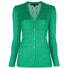 RALPH LAUREN silk cable knit cardigan ($475) ❤ liked on Polyvore featuring tops, cardigans, sweaters, silk cardigan, green top, long sleeve v neck cardigan, green silk top and v neck long sleeve top