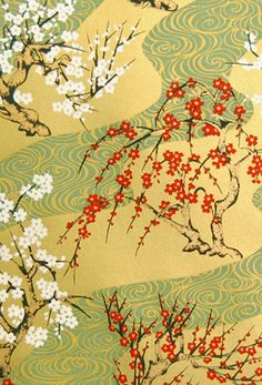 Chiyogami Paper - Decorative patterned Japanese papers for making invitations, scrapbooking, and paper crafts. Flower Tree, Japanese Patterns, Japanese Paper, Japan Art, Flowering Trees, Planner Ideas, Origami Paper, Pattern Paper, Color Palettes