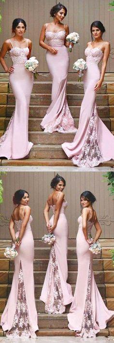 Gorgeous Spaghetti Mermaid Long Bridesmaid Dress With Court Train BD034 #bridesmaid #pgmdress #fashion