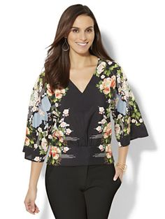Shop Smocked Kimono Blouse - Floral. Find your perfect size online at the best price at New York & Company.