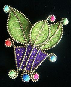 Felt and zipper leaf brooch by woolly  fabulous, via Flickr