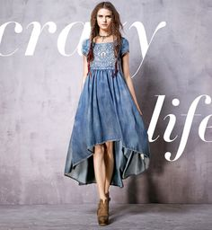ARTKA EMBROIDERED ASYMMETRIC DENIM DRESS LN10261C  US$105
