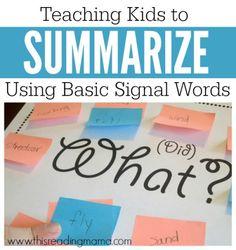 Teaching Kids to Summarize Using Basic Signal Words - This Reading Mama