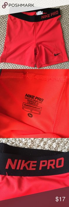 Red Nike Pro Spandex athletic shorts Medium Excellent pre-owned condition.  Red Nike Athletic Spandex shorts size medium Nike Shorts