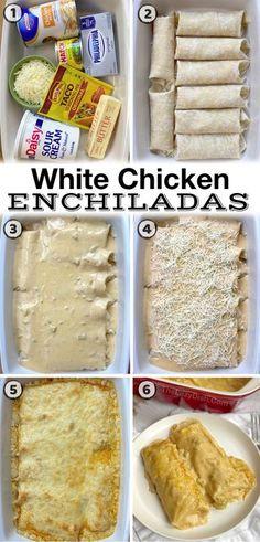 Creamy White Chicken Enchiladas (Quick & Easy Dinner Recipe) Dinner Recipes Easy Quick, Quick Easy Meals, Healthy Dinner Recipes, Easy Mexican Food Recipes, Easy Meals For Dinner, Best Dinner Recipes Ever, Easy Family Dinners, Yummy Easy Dinners, Quick Food Ideas