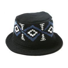 CALEE/キャリー クラッシャーハット【WOOL CRUSHER HAT】ブラック×ブルー - CALEE/キャリー/キャップ・ハット [Thumbing(サミング)]