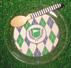 Golf Party Dessert Plates  Set of 12 by WhenIWasYourAge on Etsy, $13.00