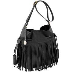 90ff7ecde Bolsa saco com franjas de couro, bolsa de franja, bolsa saco preta de couro