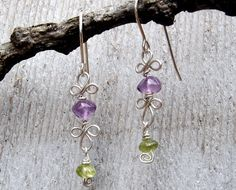 Amethyst and Peridot Sterling Silver Dangle by nicholasandfelice, $24.00