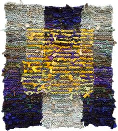 """Floating Gold Square, 42 x 36"""". Hand knit rug made from #recycled t shirts and other clothing. See more at rugsfromrags.com/..."""