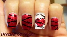 Red, heart, barbed wire - nails