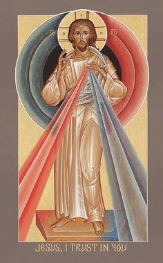 Divine Mercy icon, original by Father Pachomius Meade, OSB. -- I have this one in my room, and I love it. <3
