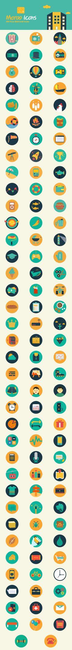 Meroo Icons - 110 Free Flat Icons